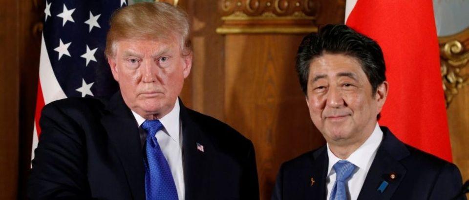 Trump meets with Abe at Akasaka Palace in Japan