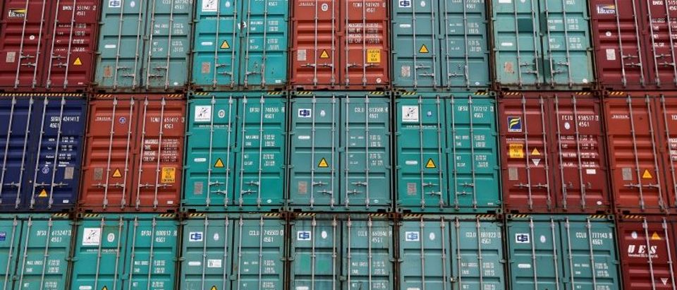 FILE PHOTO - A stack of shipping containers are pictured in the Port of Miami
