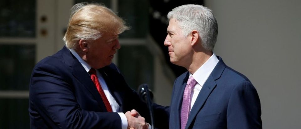 FILE PHOTO: President Donald Trump shakes hands with Judge Neil Gorsuch after he was sworn in as an Associate Supreme Court in the Rose Garden of the White House in Washington