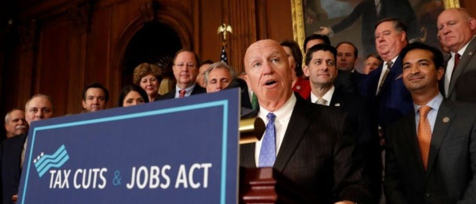 """Rep. Kevin Brady (R-TX), Chairman of the House Ways and Means Committee, speaks at news conference announcing the passage of the """"Tax Cuts and Jobs Act"""" at the U.S. Capitol in Washington"""