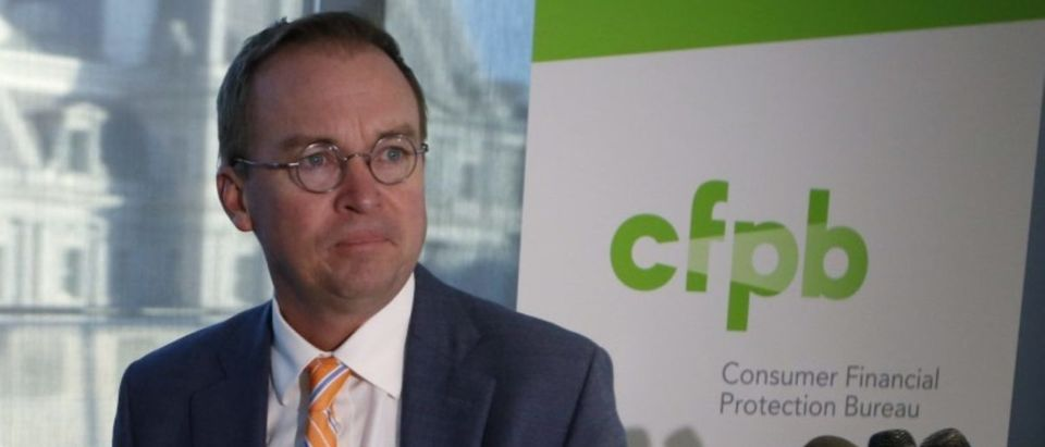 OMB Director Mulvaney speaks to the media at the U.S. Consumer Financial Protection Bureau in Washington