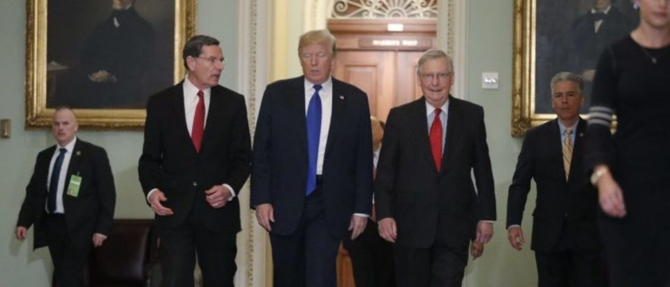U.S. President Trump arrives for Republican policy luncheon on Capitol Hill in Washington