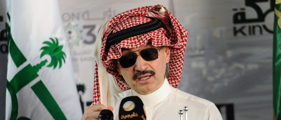 Saudi Prince Alwaleed bin Talal speaks during a press conference on May 11, 2017, in the Red Sea city of Jeddah. The completion date for the world's tallest tower has been pushed back to 2019, a Saudi Arabian billionaire said, almost six years after launching the record-breaking project. AMER HILABI/AFP/Getty Images