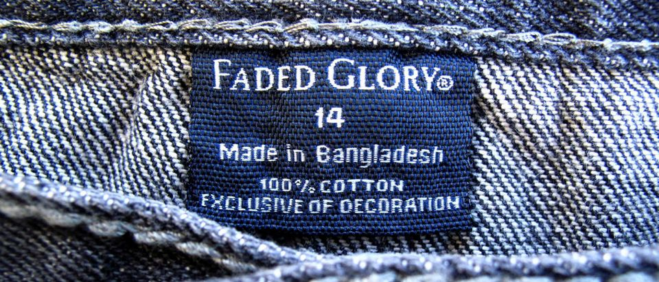 The clothing tag on a pair of jeans by Wal-Mart's brand Faded Glory, which is made in Bangladesh, is shown in California