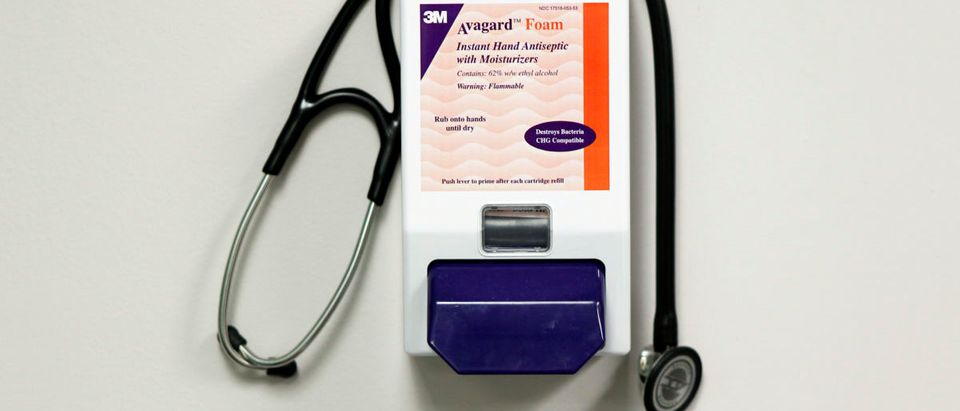 A stethoscope rests on a container of hand sanitizer inside of the doctor's office of One Medical Group in New York March 17, 2010. (Photo: REUTERS/Lucas Jackson)