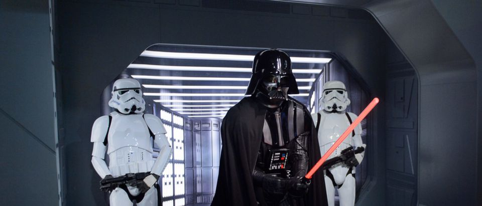 Darth Vader stands in front of some Storm Troopers in Madame Tussauds Berlin wax museum (Shutterstock/Anton_Ivanov)