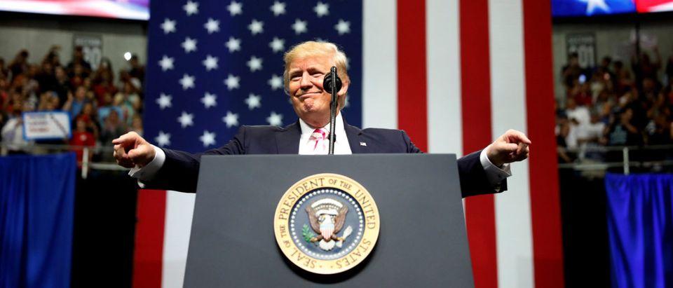 U.S. President Trump speaks at a campaign rally for Senator Luther Strange in Huntsville