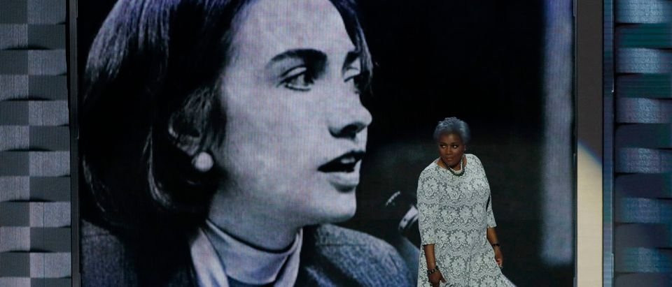 Democratic National Committee Vice Chair of Voter Registration and Participation Brazile walk on stageat the Democratic National Convention in Philadelphia