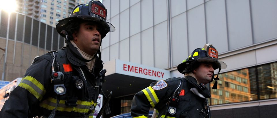 New York City firefighters at the scene of a fire at NYU Medical Center in Manhattan, New York