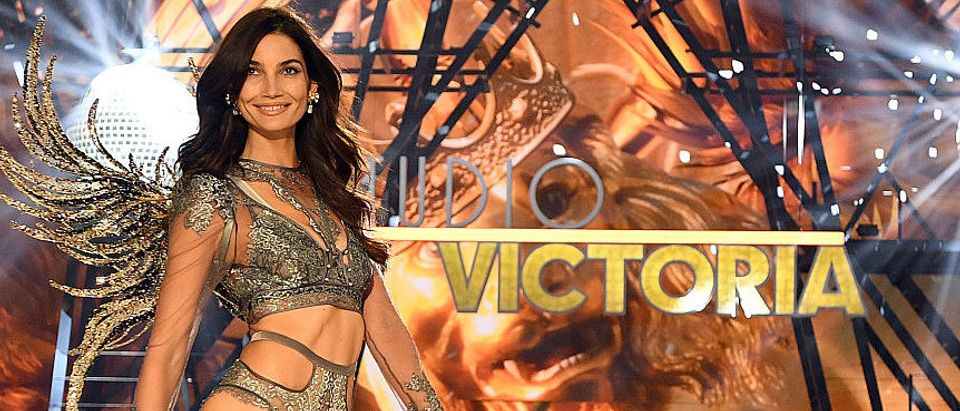 Lily Aldridge walking the runway during the 2016 Victoria's Secret Fashion Show in November 2016 in Paris. (Photo by Dimitrios Kambouris/Getty Images for Victoria's Secret)