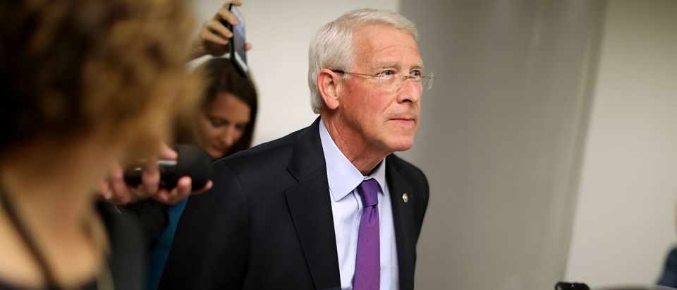 Sen. Roger Wicker (R-MS) talks with reporters as he heads for his party's weekly policy luncheon at the U.S. Capitol May 16, 2017 in Washington, D.C. (Photo by Chip Somodevilla/Getty Images)
