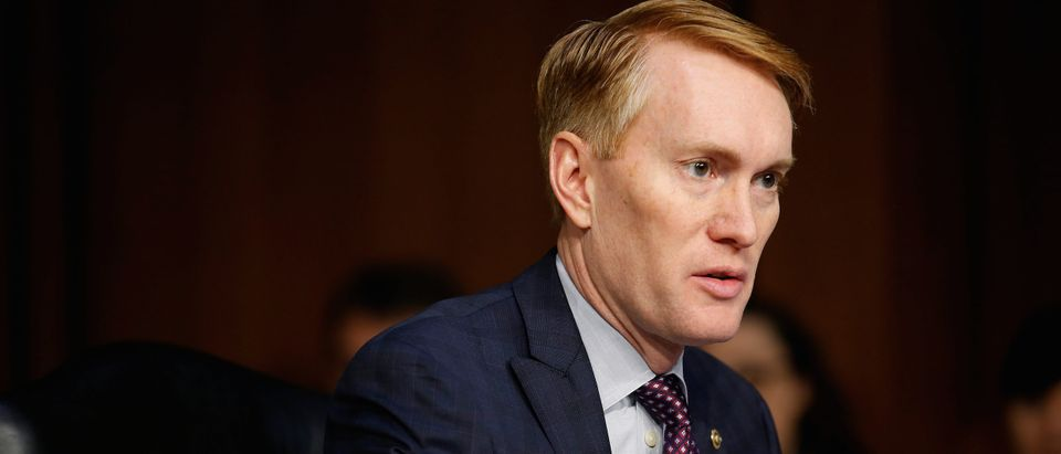 Senator James Lankford (R-OK) speaks during Senate Intelligence Committee hearing to answer questions related to Russian use of social media to influence U.S. elections, on Capitol Hill in Washington