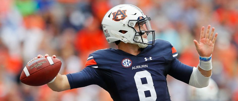 Jarrett Stidham #8 of the Auburn Tigers looks to pass against the Mississippi Rebels at Jordan Hare Stadium on October 7, 2017 in Auburn, Alabama. (Photo by Kevin C. Cox/Getty Images)
