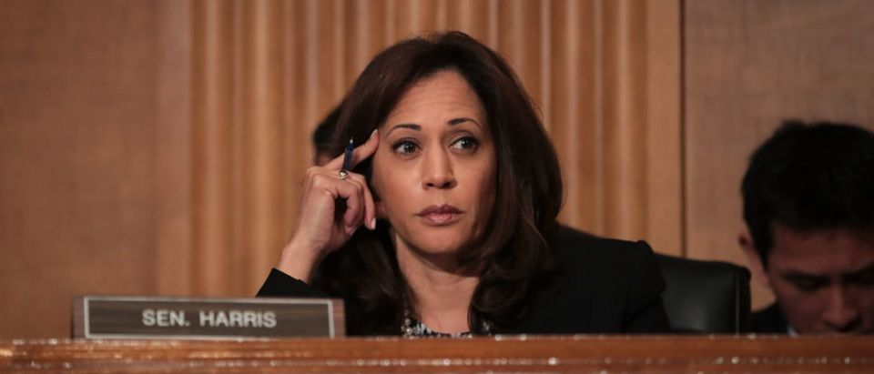Sen. Kamala Harris (D-CA) listens during a Senate Committee on Homeland Security and Governmental Affairs hearing concerning threats to the homeland, September 27, 2017 in Washington, D.C. (Photo by Drew Angerer/Getty Images)