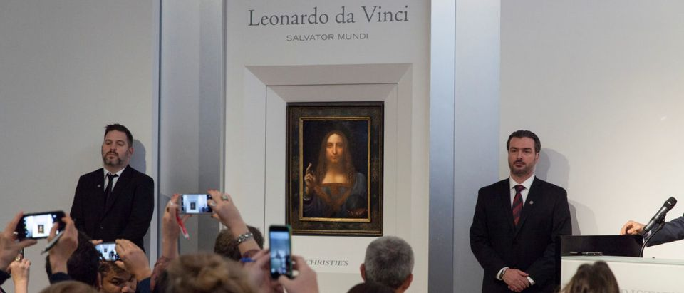 """""""Salvator Mundi,"""" an ethereal portrait of Jesus Christ which dates to about 1500, the last privately owned Leonardo da Vinci painting, is on display for the media at Christie's auction in New York, NY, U.S., October 10, 2017. Courtesy Christies New York/Handout via REUTERS"""