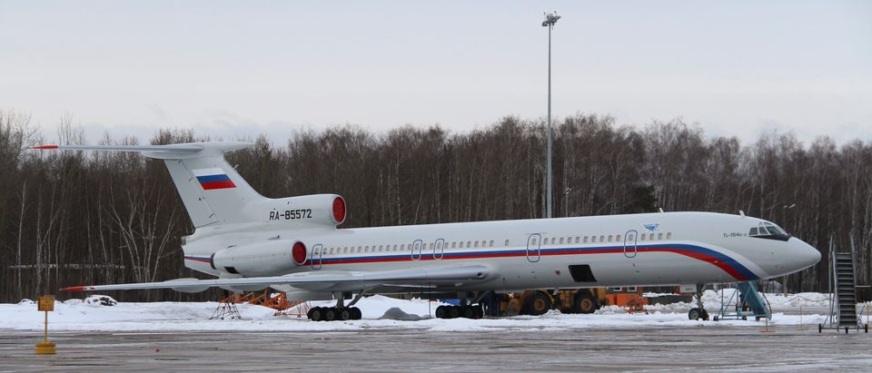 Tupolev Tu-154 stands on tarmac of Chkalovsky military airport north of Moscow