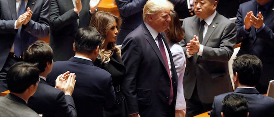 U.S. President Donald Trump and first lady Melania arrive at the South Korean National Assembly in Seoul