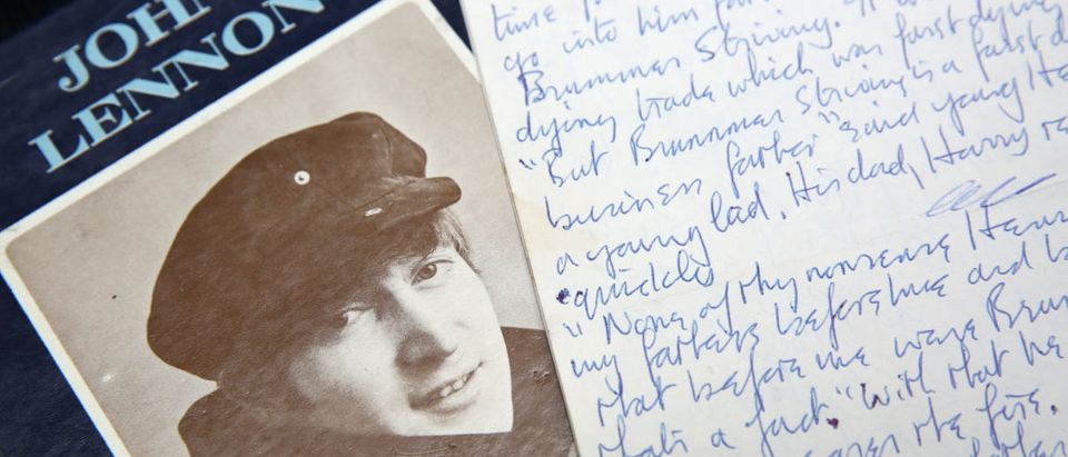 A manuscript written by John Lennon entitled 'Henry and Harry' is seen at Sotheby's, London March 21, 2014. The manuscript, which will be sold in New York in June, is part of a group of letters and drawings entitled John Lennon ' You Might As Well Arsk,' and is estimated to be auctioned for between $30,000 to 40,000 (18,200 to 24,230 pounds). (Photo: REUTERS/Paul Hackett)