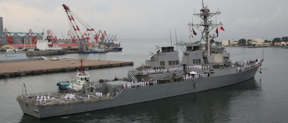 USS Benfold, a guided-missile destroyer, arrives at a port in Qingdao