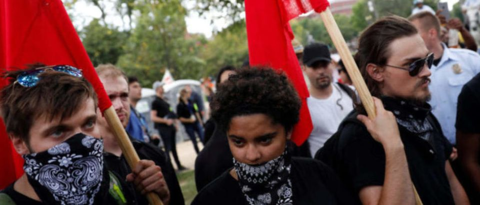 Antifa gathers to protest during the Mother of All Rallies demonstration in Washington