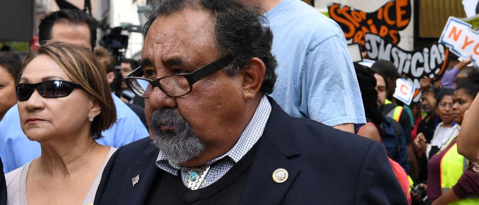 Congressman Adriano Espaillat (R), Speaker of the New York City Council Melissa Mark-Viverito (C), and Congressman Raul Grijalva (L) march onto 5th Avenue to block traffic, before getting arrested, during a rally to demand that U.S. President Donald Trump works with Congress to pass a clean DREAM Act on the sideline of the United Nations General Assembly in New York City, U.S. September 19, 2017. (Photo: REUTERS/Darren Ornitz)