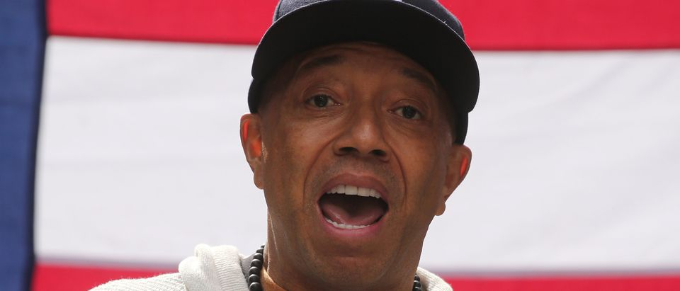 "Producer Russell Simmons take part in an ""I am Muslim Too"" rally in Times Square Manhattan, New York"