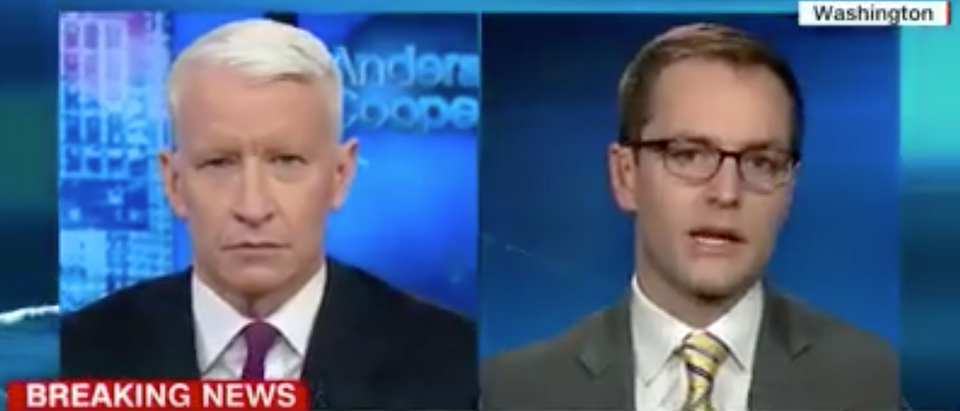 Clinton campaign manager Robby Mook discusses the dossier with CNN's Anderson Cooper, Nov. 3, 2017. (Youtube screen grab)