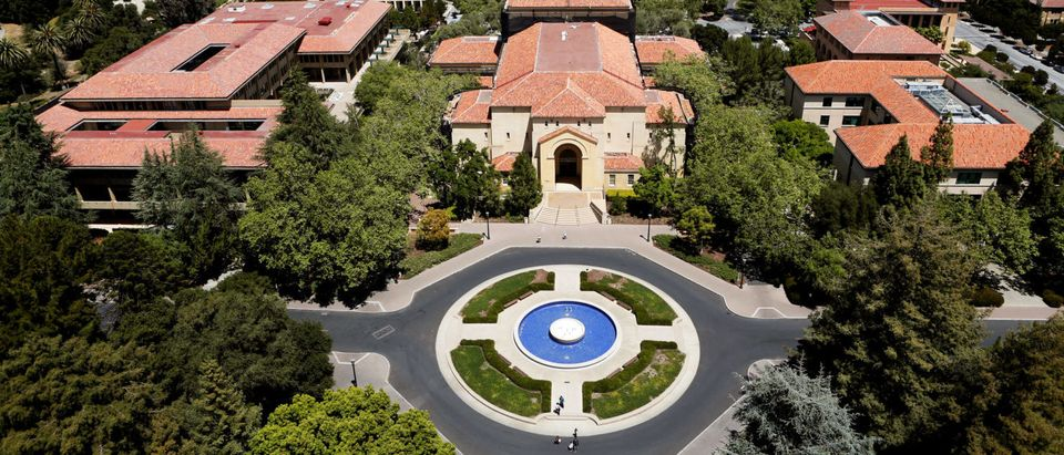 Stanford University's campus is seen from atop Hoover Tower in Stanford