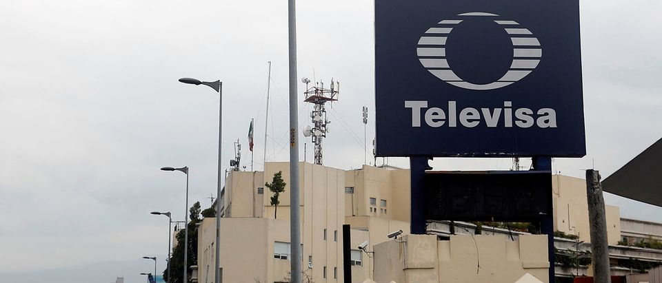 The logo of broadcaster Televisa is seen outside its headquarters in Mexico City