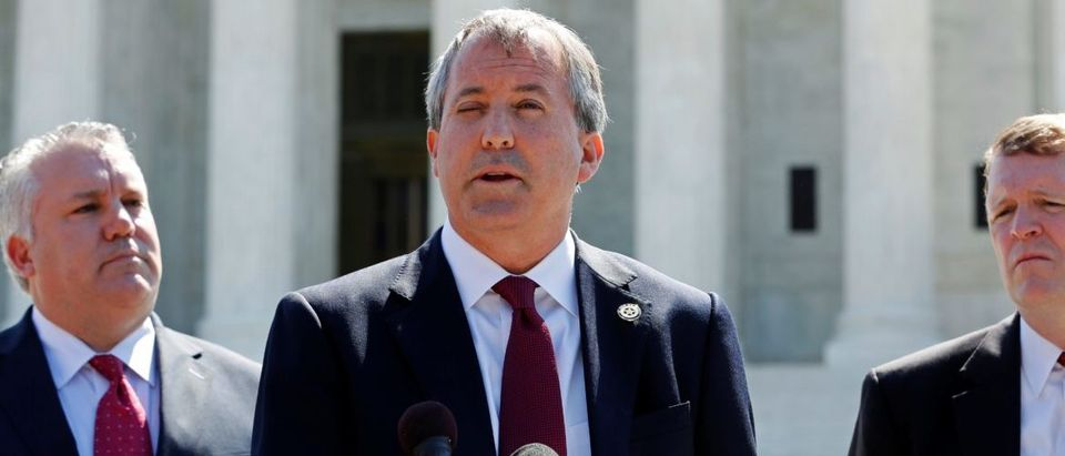 Paxton holds a news conference to announce Texas and 20 other states have filed a lawsuit against the state of Delaware, at the Supreme Court building in Washington