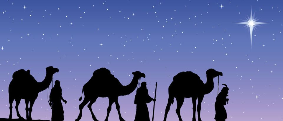 The Three Wise Men following Jesus' star. (shutterstock/ ArtMari)