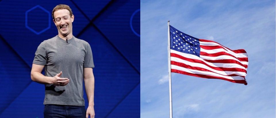 Left: Facebook Founder and CEO Mark Zuckerberg speaks on stage during the annual Facebook F8 developers conference in San Jose, California, U.S., April 18, 2017. [REUTERS/Stephen Lam] Right: The American flag. [Shutterstock/Leonard Zhukovsky]