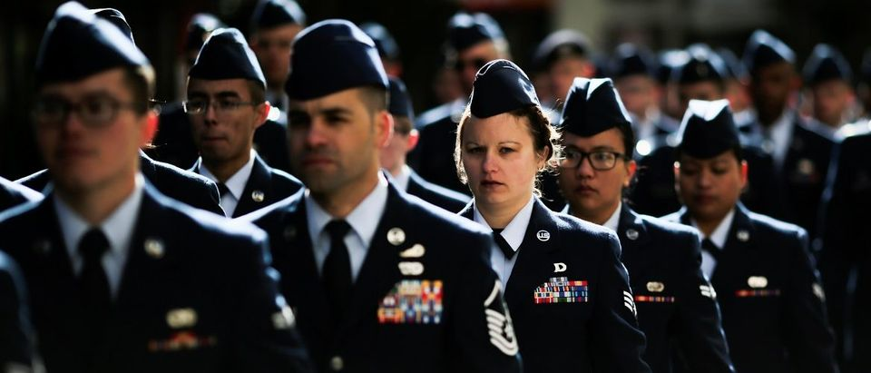 U.S. Air Force members march during the Veteran's Day parade in New York