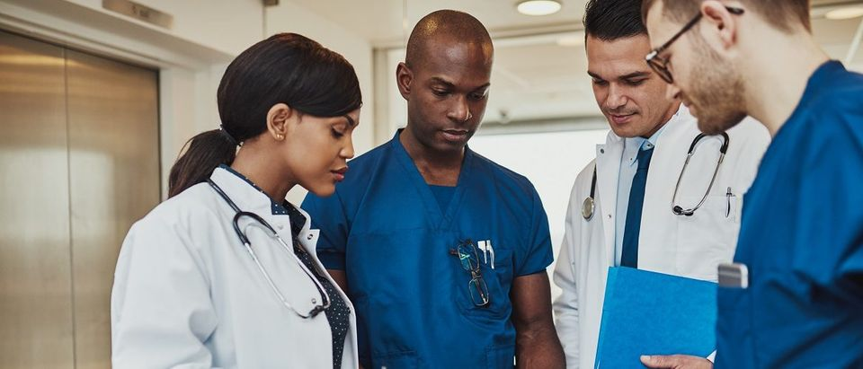 Team of doctors looking at a patient chart. Uber Images/Shutterstock.