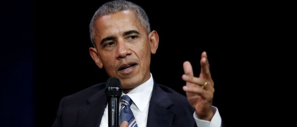 Former US president Barack Obama speaks at a conference in Paris