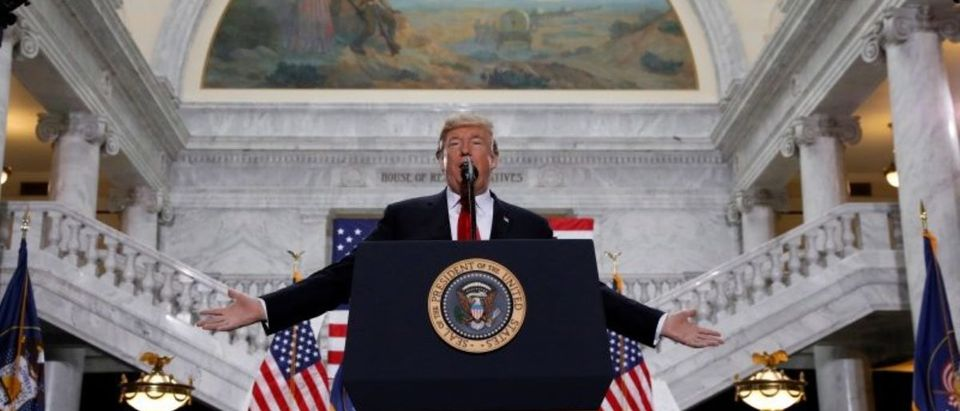 U.S. President Donald Trump speaks at the Utah State Capitol, where he announced big cuts to Utah's sprawling wilderness national monuments, in Salt Lake City, Utah, U.S., December 4, 2017. (Photo: REUTERS/Kevin Lamarque)