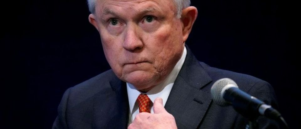 U.S. Attorney General Jeff Sessions waits to speak at the Federalist Society's 2017 National Lawyers Convention in Washington, U.S., November 17, 2017. REUTERS/Joshua Roberts