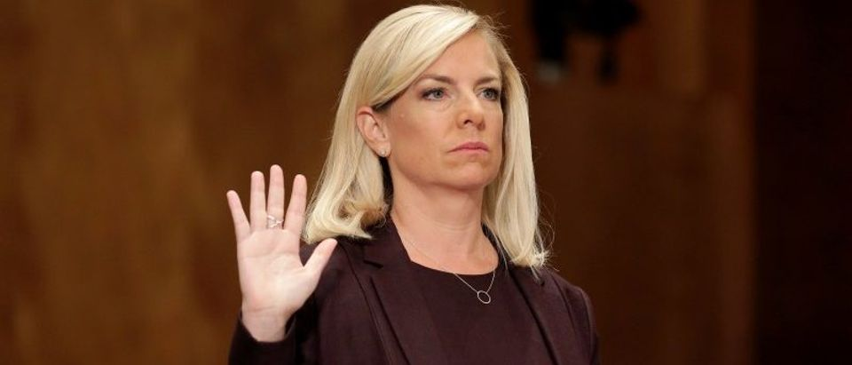 FILE PHOTO: Kirstjen Nielsen testifies on her nomination to be secretary of the Department of Homeland Security in Washington