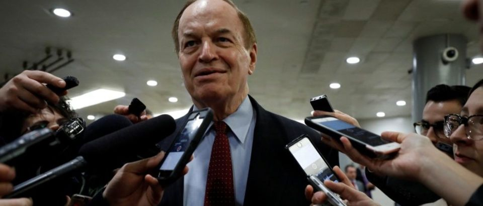 Sen. Richard Shelby speaks with reporters ahead of votes on Capitol Hill in Washington