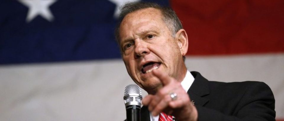 Republican candidate for U.S. Senate Judge Roy Moore speaks during a campaign event in Fairhope
