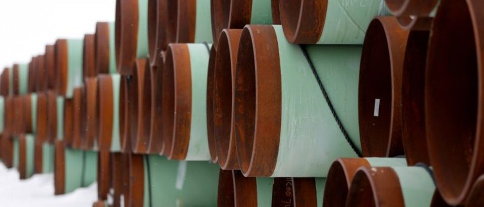 FILE PHOTO: A depot used to store pipes for Transcanada Corp's planned Keystone XL oil pipeline is seen in Gascoyne
