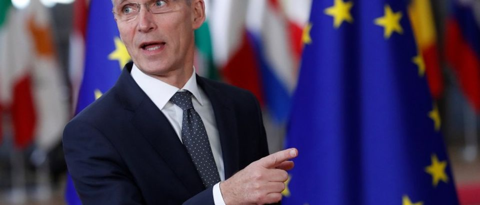 NATO Secretary General Jens Stoltenberg arrives to attend the EU summit in Brussels