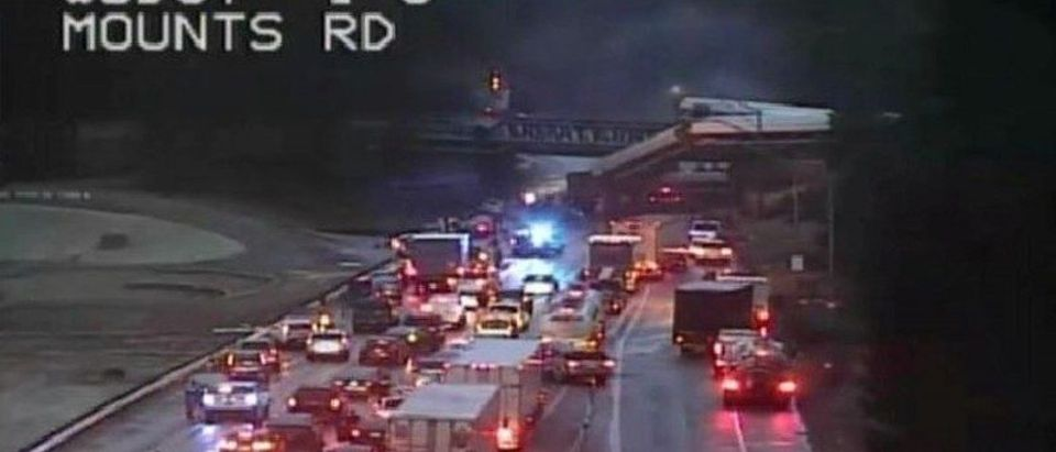 Washington State Department of Transportation (WSDOT) image of Amtrak train derailment in DuPont