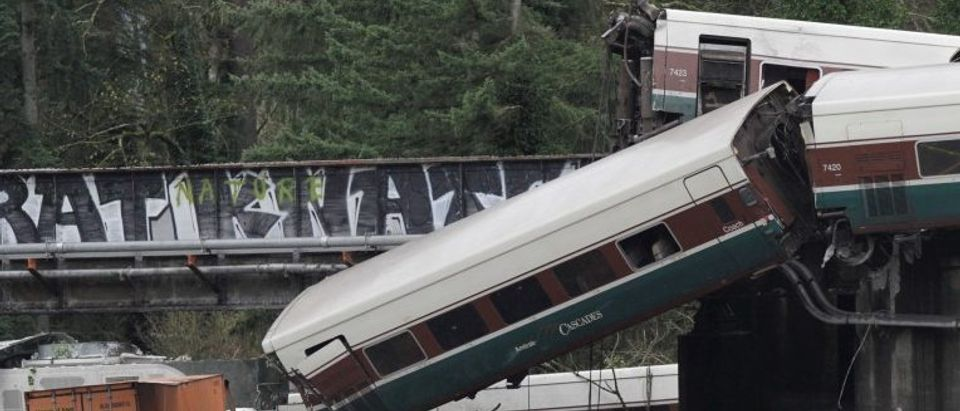 The scene where an Amtrak passenger train derailed in DuPont