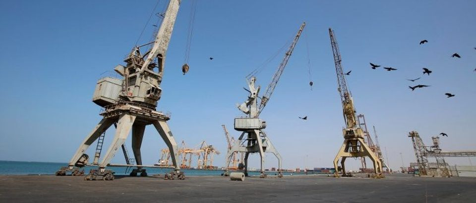 A view of cranes, damaged by air strikes, at the container terminal of the Red Sea port of Hodeidah
