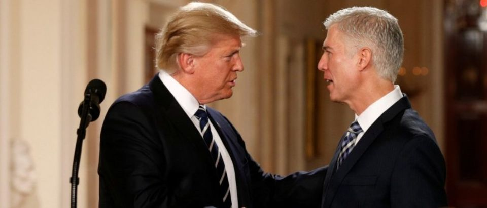 FILE PHOTO: U.S. President Donald Trump shakes hands with Neil Gorsuch after nominating him to be an associate justice of the U.S. Supreme Court at the White House in Washington