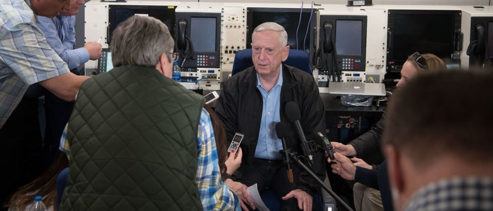 SD speaks with press during flight to Kuwait