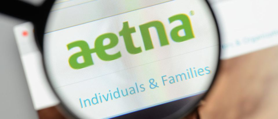 Aetna website homepage. It is an American managed health care company. Aetna logo visible. (Photo: ShutterStock/Casimiro PT)