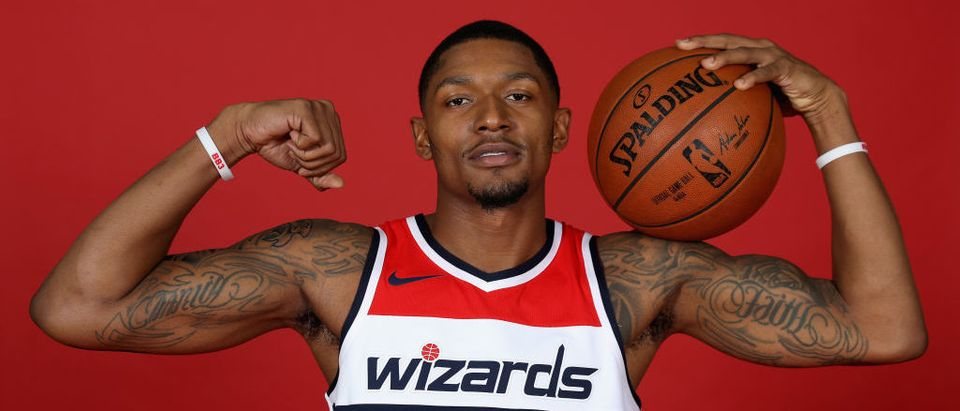 Bradley Beal #3 of the Washington Wizards poses during media day at Capital One Arena on September 25, 2017 in Washington, D.C. (Photo by Rob Carr/Getty Images)