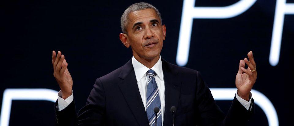 Former US president Barack Obama speaks at a conference in Paris